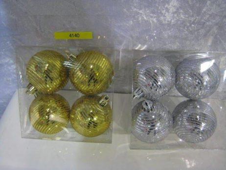 BOULES A SAPIN DE NOEL (Boite 4 boules 70 mm) Argentées et dorées