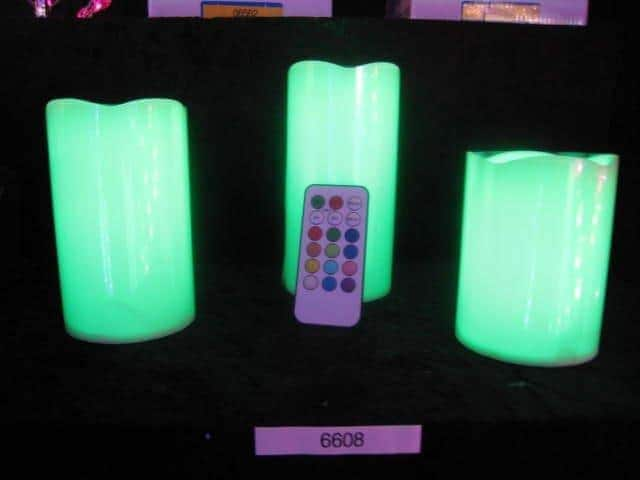pack 3 bougies a led changement de couleurs avec t l commande ced. Black Bedroom Furniture Sets. Home Design Ideas
