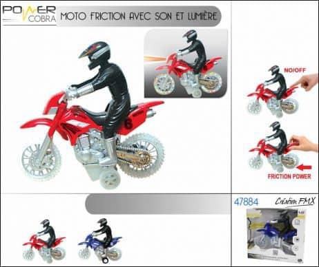 COFFRET MOTO FRICTION (Moto de cross et pilote) avec son et lumière