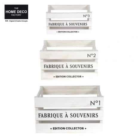 CAGETTES DE RANGEMENT (Kit de 3 cagettes blanches) Trio formats assortis