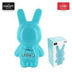 Tirelire lapin bleu 24 cm