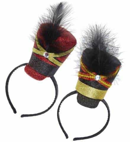 MINI CHAPEAU MAJORETTE (Assortiment rouge et noir) Serre tête pierre et plume