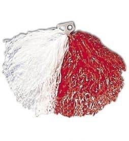 Pompon bicolore blanc et rouge
