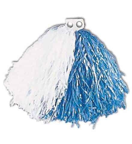 Pompon bicolore blanc et bleu