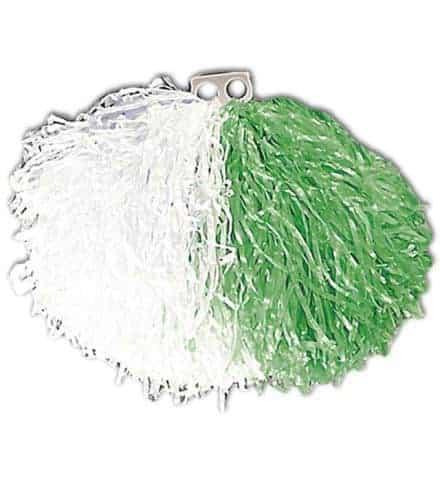 Pompon bicolore vert et blanc