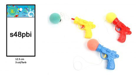 PISTOLET BALLE EN MOUSSE (Pistolet lance balle 12.5 cm) Assortiment 3 coloris