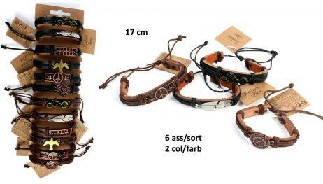 BRACELETS EN CUIR (Bracelets plaque métal) Taille 17 cm - 6 modèles