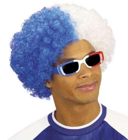 PERRUQUE SUPPORTER (Perruque frisée bleu/blanc) Perruque bicolore