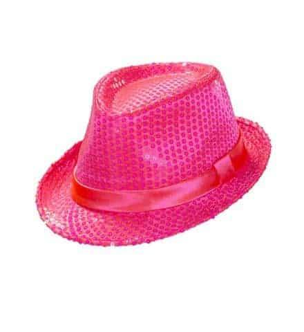 BORSALINO ROSE FLUO (Chapeau disco à paillettes)
