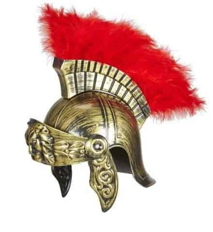 CASQUE DE SOLDAT ROMAIN (Couleur or + crête rouge) Epoque Rome antique