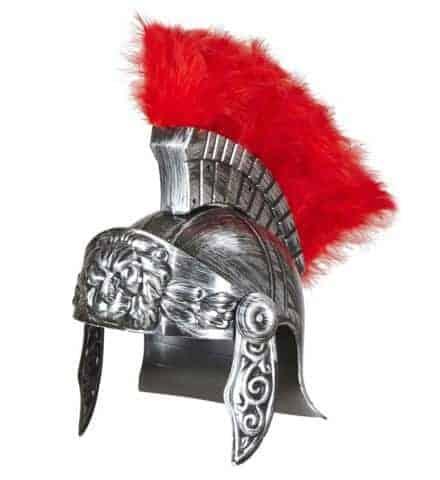 CASQUE DE SOLDAT ROMAIN (Couleur argent + crête) Epoque Rome antique