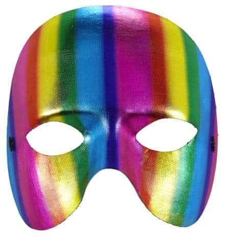 MASQUE ARC EN CIEL MÉTAL (Masque parade - Gay pride) Masque sans menton