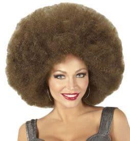 Perruque brune afro