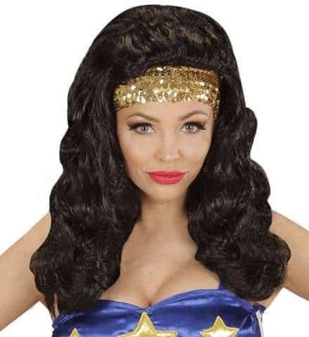 PERRUQUE SUPER WOMAN (Avec bandeau a sequins) Perruque en boite