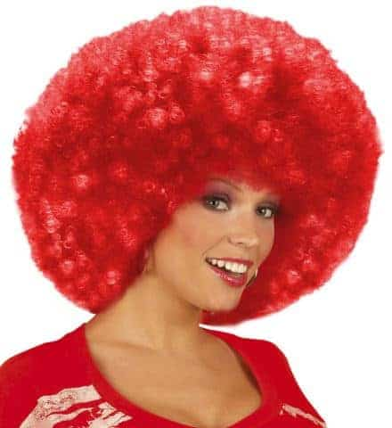Perruque rouge afro