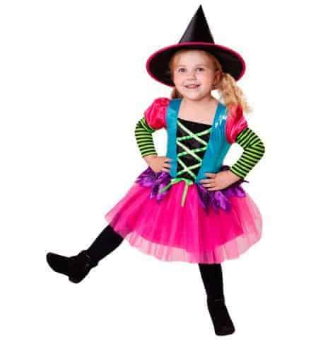 ROBE PETITE SORCIÈRE NÉON (Costume couleurs fluo) Tailles de 2 à 13 ans