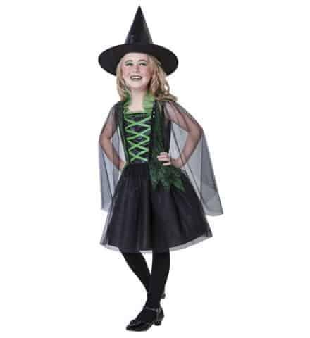 PETITE SORCIÈRE FOLLE (Robe enfant avec chapeau) Tailles de 5 à 13 ans
