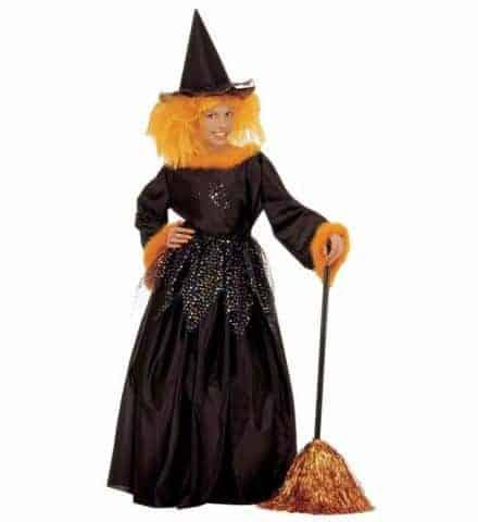 PETITE SORCIÈRE ÉLÉGANTE (Costume, jupon et chapeau) Tailles 5 à 13 ans