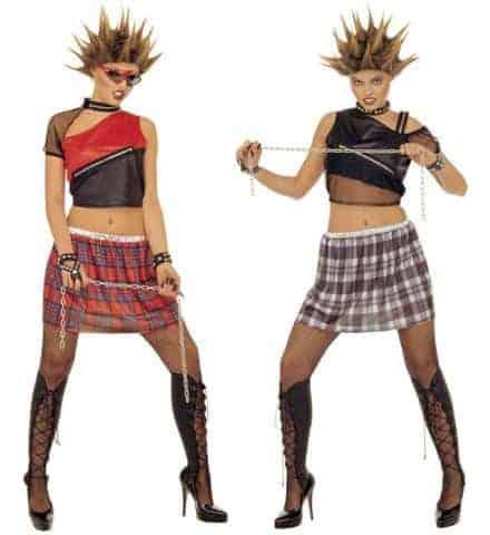 DÉGUISEMENT PUNKETTE (Haut, jupe et sur bottes) Tailles adultes - 2 modèles