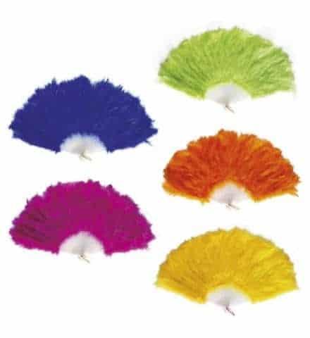 ÉVENTAIL EN PLUMES (Éventail carnaval brésilien ) Assortiment 5 coloris