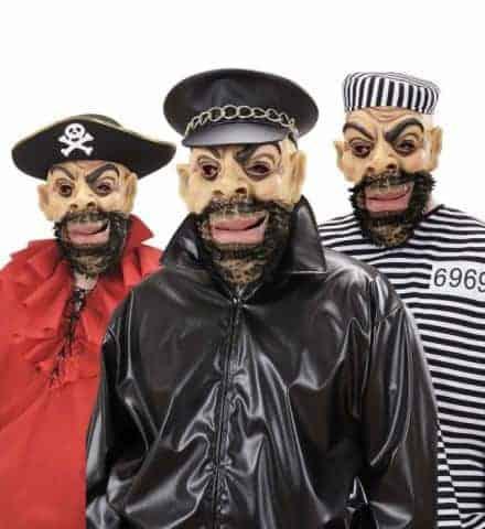 MASQUES PERSONNAGES (Pirate, biker, prisonnier) Masque en latex