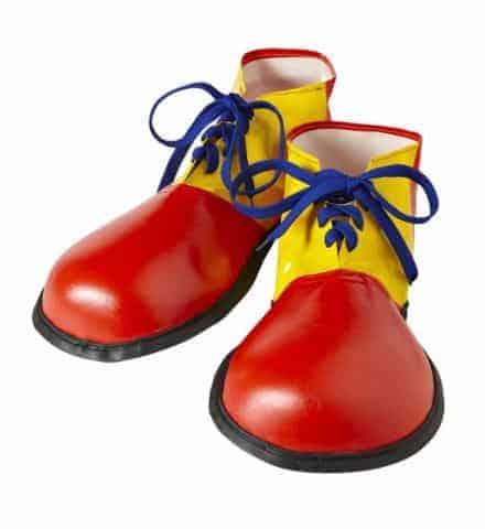 CHAUSSURES DE CLOWN (Chaussures Jaunes/rouges) Taille adulte