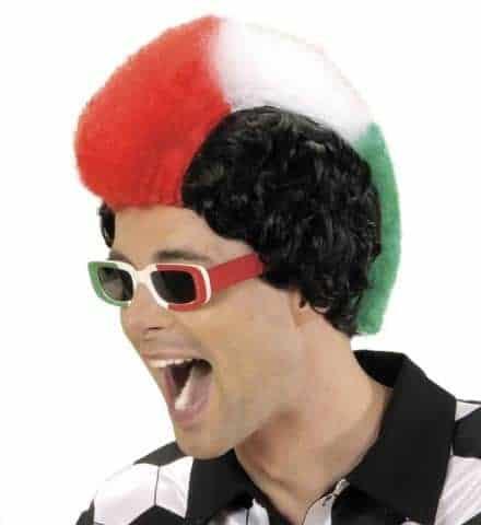 PERRUQUE SUPPORTER (Supporter de l'Italie) Perruque punk avec boite