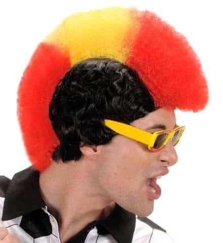 PERRUQUE SUPPORTER (Supporter de l'Espagne) Perruque punk avec boite