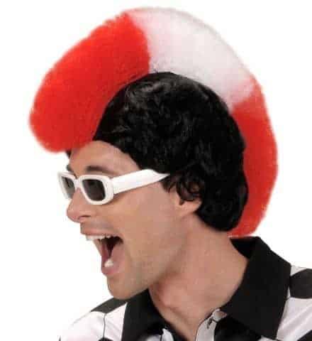 PERRUQUE SUPPORTER (Rouge - Blanc - Rouge) Perruque punk avec boite