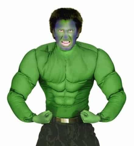 CHEMISE SUPER HÉROS VERT (Chemise avec muscles) Tailles adultes
