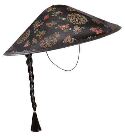 Chapeau chinois avec natte