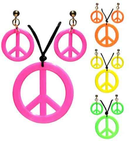 BIJOUX HIPPIES NÉON (Boucles d'oreilles + Colliers) Peace and love - 4 coloris