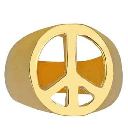Bague dorée peace and love