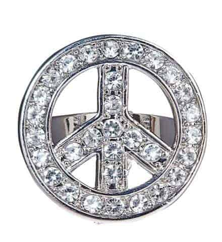 Bague peace and love strass