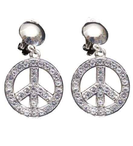 BOUCLES D'OREILLES 70'S (Strass - Peace and love)