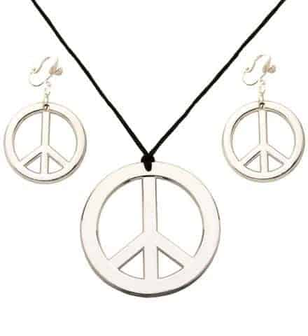 BIJOUX PEACE AND LOVE (Boucles d'oreilles + Colliers) Pack bijoux hippies
