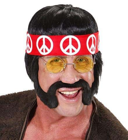 Perruque hippie noire