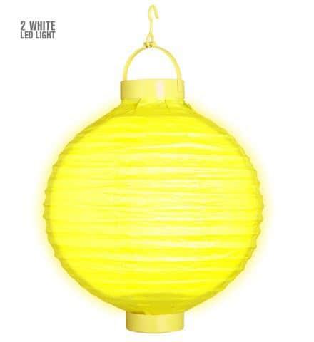 LAMPION JAUNE LUMINEUX (Taille 30 cm - 2 leds)