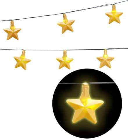 DÉCO ETOILES LUMINEUSES (Guirlande lumineuse) Longueur 2.50 m - 10 lampes