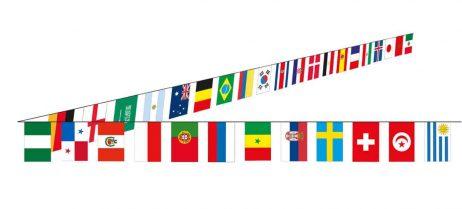 GUIRLANDE 32 FANIONS (Guirlande tissu 10 mètres) Coupe du monde