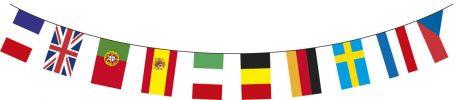 GUIRLANDE DRAPEAUX PAYS (10 mètres - 20 drapeaux)