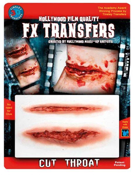 FAUSSE BLESSURE 3D (Coupure gorge tranchée) Transfert FX professionnel