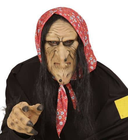 DEMI MASQUE SORCIÈRE (Cheveux noirs et foulard) Masque en latex