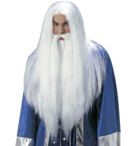 PERRUQUE DE MAGICIEN (Maxi barbe et moustaches)