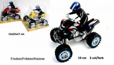 MOTO QUAD RETRO FRICTION (Taille 19 cm - 3 Coloris)