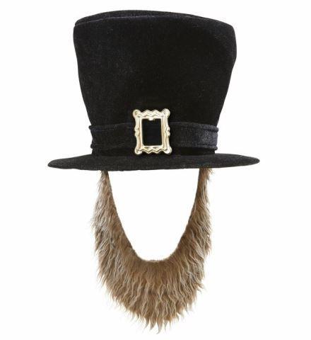 CHAPEAU SAINT PATRICK (Haut de forme velours noir) Boucle et barbe marron