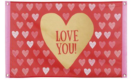 DRAPEAU LOVE YOU ! (Banderole avec coeurs) Taille XL de 60 x 90 cm