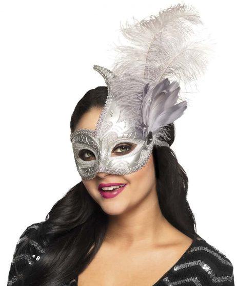 LOUP VENISE ARGENT (Masque avec plumes)