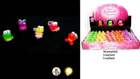 BAGUES GRENOUILLES A LED (Pack 50 bagues lumineuses) 5 modèles - 5 coloris