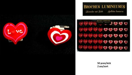 BROCHES PETITS COEURS (Pack 50 bagues lumineuses) 2 styles assortis
